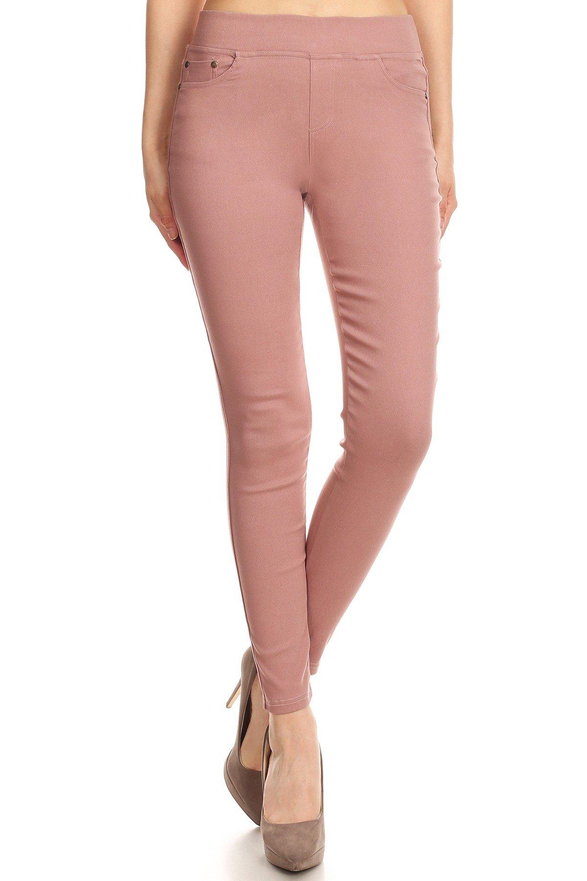 MissMissy Women's Casual Color Denim Slim Fit Skinny Elastic Waist Band Spandex Jeggings Ankle Jeans Pants (Small, Pink)
