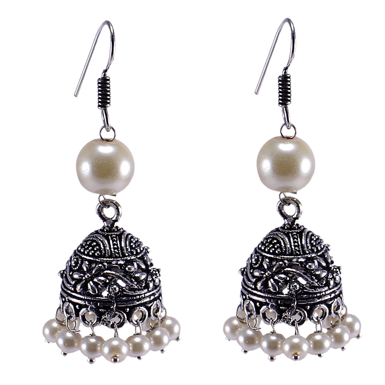 Saamarth Impex Pearl Gemstone Silver Plated Jhumka PG-119584