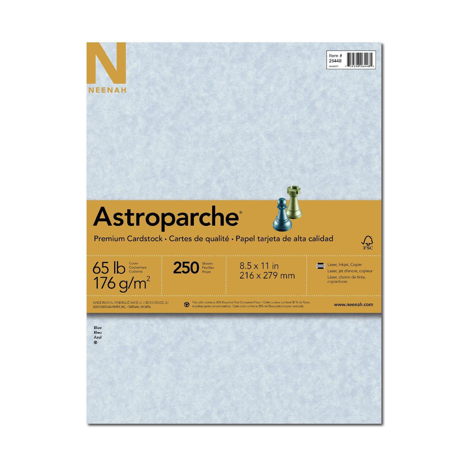 Astroparche Specialty Cover Stock, 8.5'' x 11'', 65 lb/176 gsm, Blue, 250 Sheets (26448)