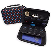Soyan Hard Carrying Case for Nintendo New 3DS XL and 2DS XL, 16 Game Card Holders, with Carry Handle (Polka Dots)
