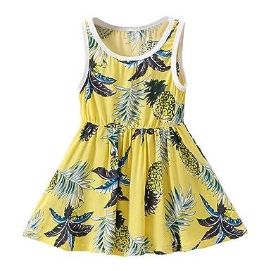 ade3a33a80b Vodool Summer Kid Girls Pineapple Print Sleeveless Cotton Beach Dress (Yellow 1-2T