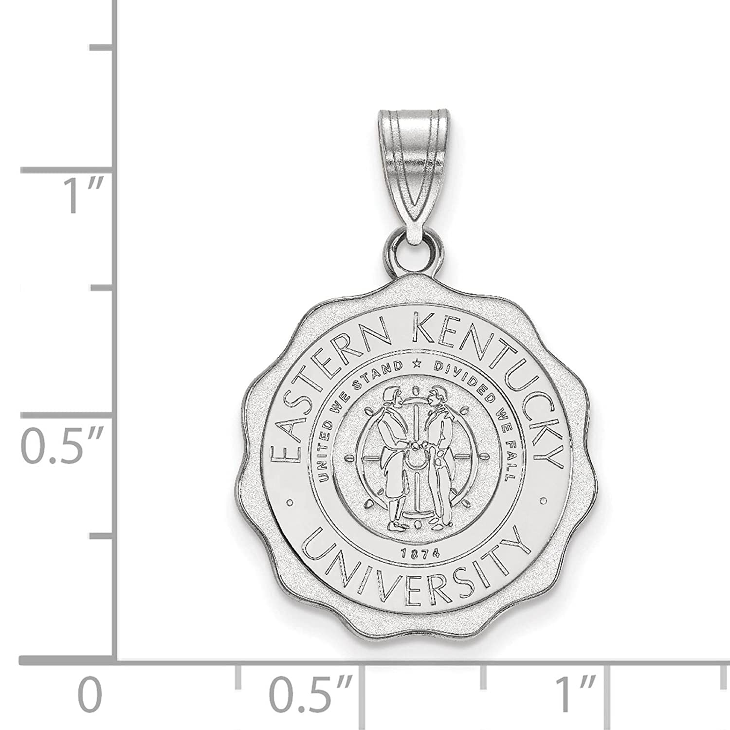925 Sterling Silver Rhodium-plated Laser-cut Eastern Kentucky University Large Crest Pendant