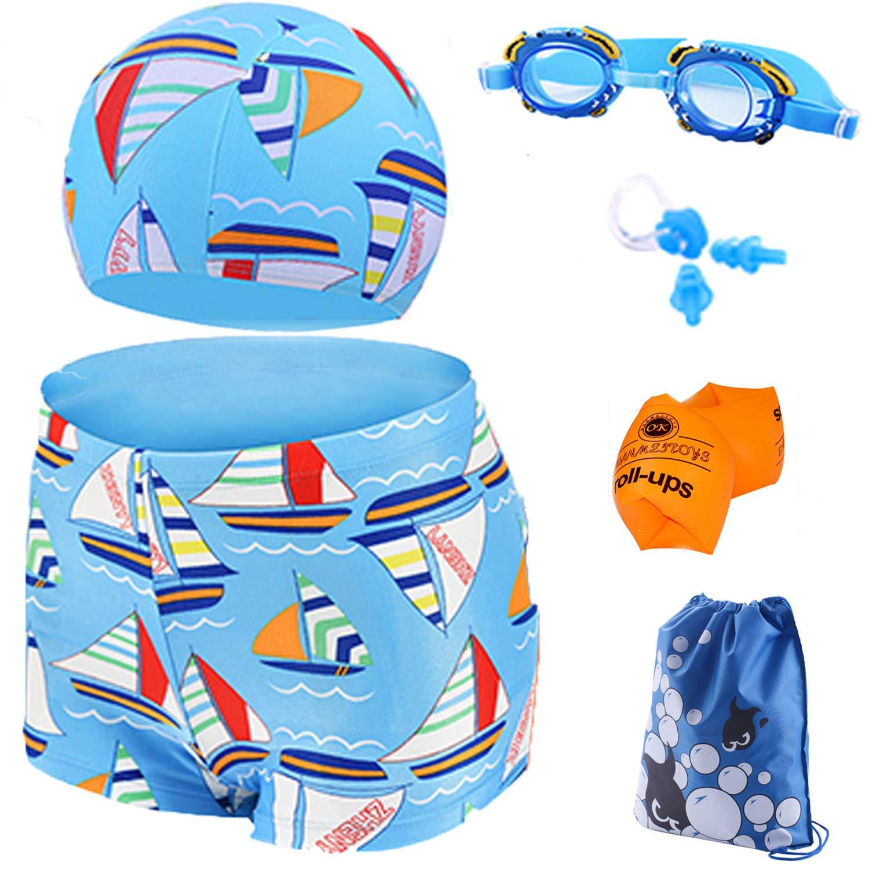Kids 6 Pcs Swimsuits Swimming Set for Boys with Swim Trunk, Swim Goggles, Swim Cap, Nose Clip, Ear Plugs, Waterproof Bag