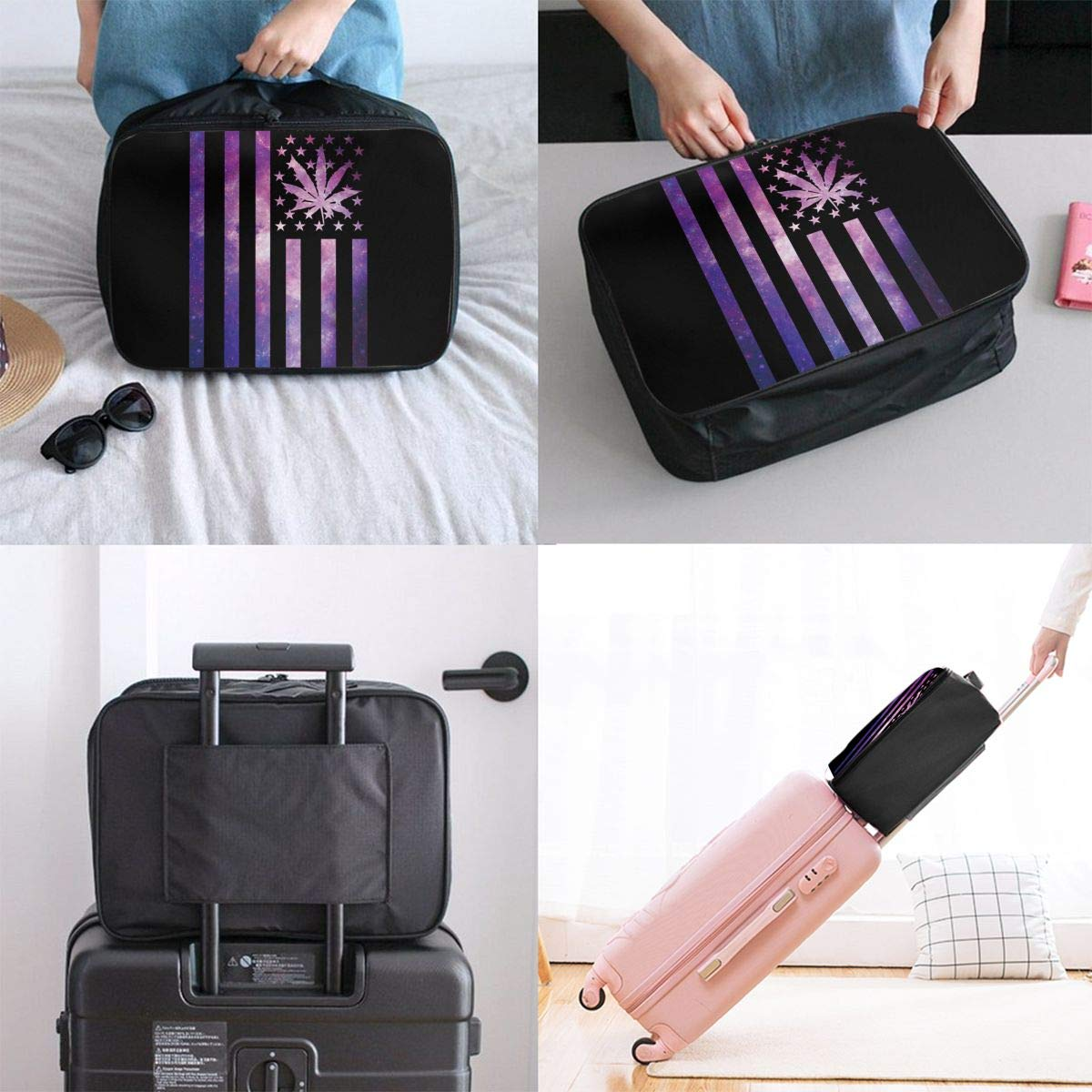 YueLJB Weed Flag Galaxy Lightweight Large Capacity Portable Luggage Bag Travel Duffel Bag Storage Carry Luggage Duffle Tote Bag