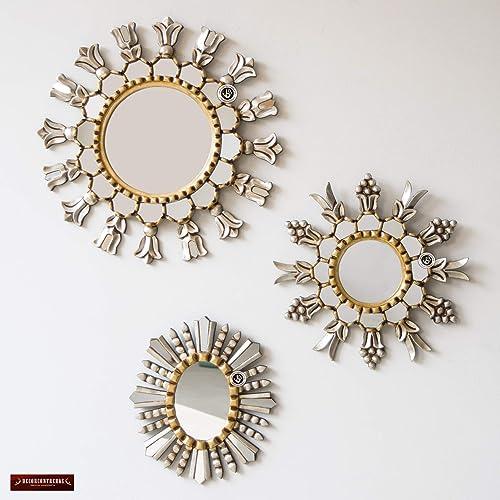 Amazon Com Peruvian Silver Gold Round Mirror Set 3 Collection