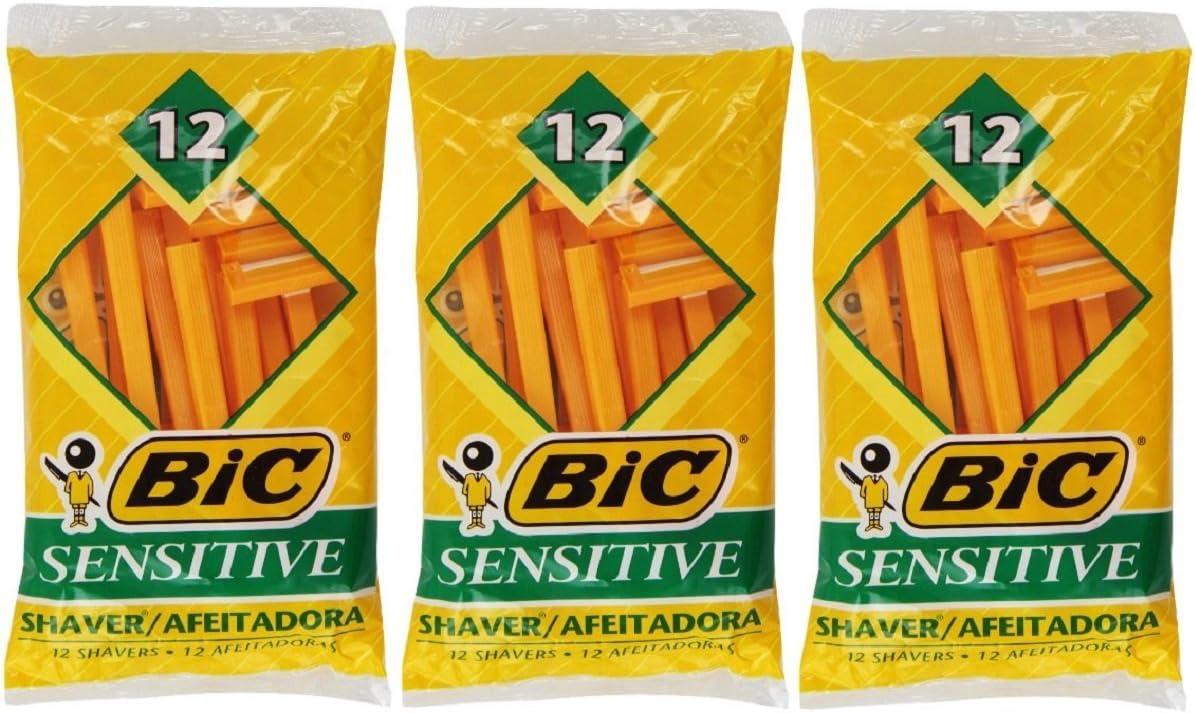 Bic Single Blade Shavers Sensitive Skin - 12 ct (3 packs of 12)
