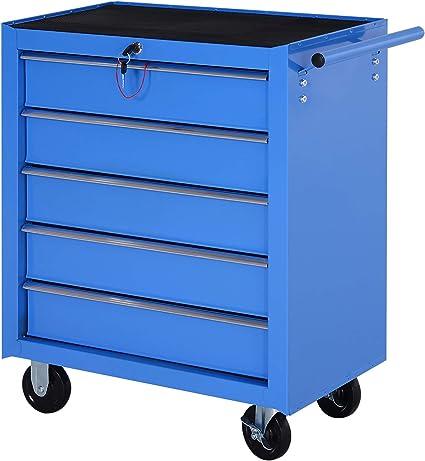 HOMCOM Carro Caja de Herramientas Taller movil con 5 cajones 4 Ruedas Chapa de Acero Azul: Amazon.es: Hogar