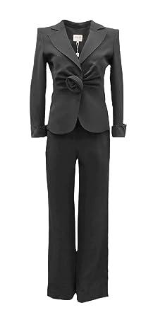 f6e7663d4ed2 ARMANI COLLEZIONI Womens Silk Dressy Jacket   Pants Suit Set Sz 4 Black  90211HP