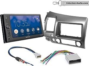 Sony XAV-AX1000 Double Din Radio Install Kit With Apple CarPlay, Sirius XM Ready, NO CD Player Fits 2006-2011 Honda Civic (Dark Atlas Grey)