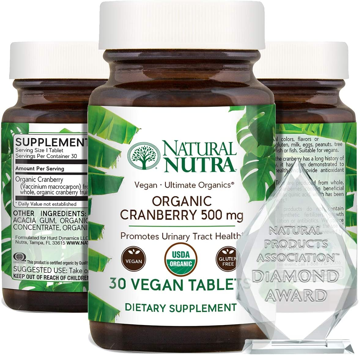 Natural Nutra Organic Cranberry Extract Supplement, Vegan and Vegetarian, Pills for Kidney Cleanse, UTI Relief, Inflammation and Antioxidant Support, 30 Tablets, One Month Supply