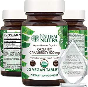 Natural Nutra Organic Cranberry Extract Supplement, Pills for Kidney Cleanse, UTI Relief, Inflammation and Antioxidant Support, 30 Tablets, One Month Supply