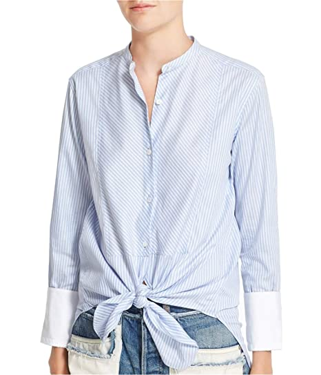 6830dd66 Amazon.com: Helmut Lang Womens Striped Collarless Button Up Shirt ...
