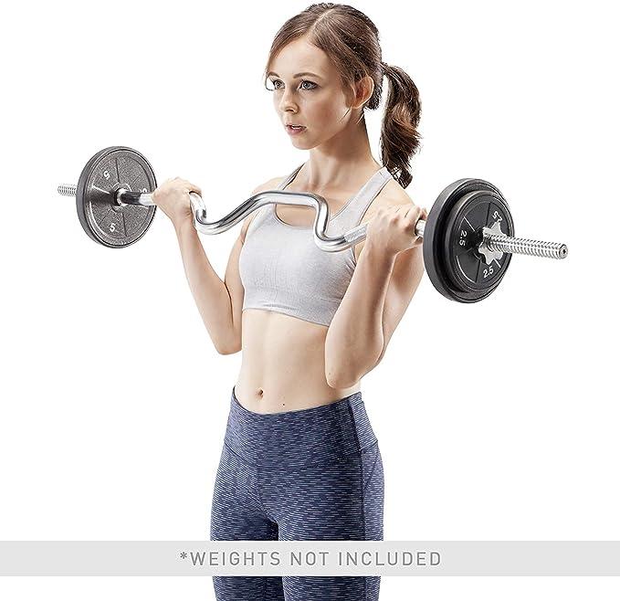 Black Arm Curl Biceps Bar /& Spinlock Collars EZ Bicep Curls Weight Lifting Gym