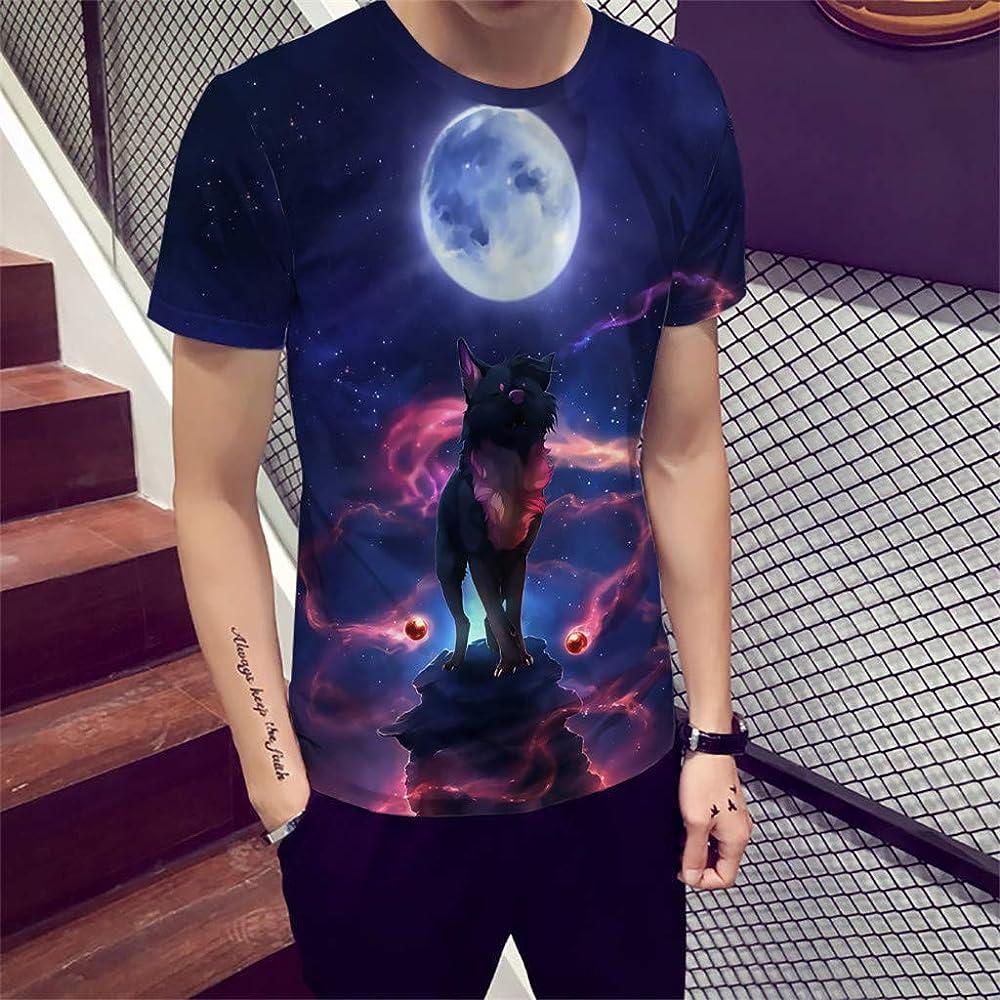 Kanpola - Camisa de Manga Corta para Hombre con Cuello Redondo y ...
