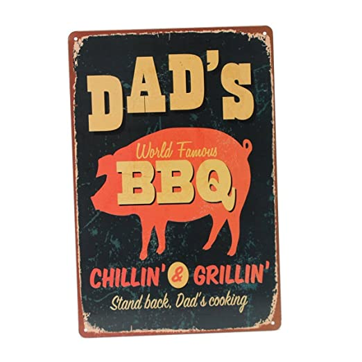 kentop Retro Cartel de chapa Dad s BBQ Póster Cartel para pared placa para puerta metal Publicidad Pared Cartel para Pub Bar Coffee Shop Cartel para ...