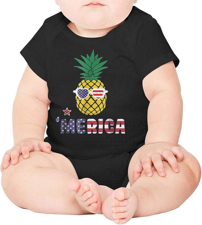 Baby Onesies Merica Patriotic Pineapple 100/% Cotton Newborn Baby Clothes Comfortable Short Sleeve Bodysuit
