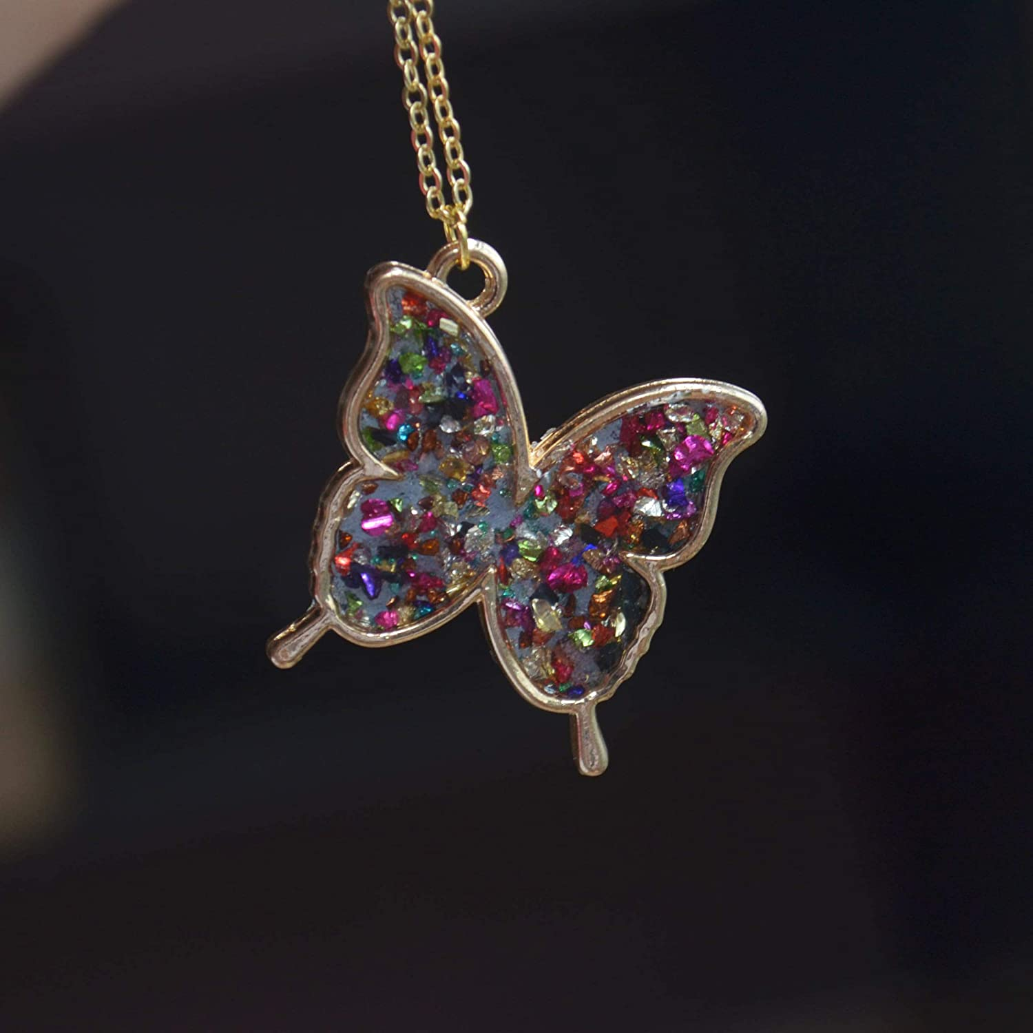 Butterfly Colored Treasure Island Mineral Blue Glow In The Dark 18K Gold Plated Necklace 26 Length