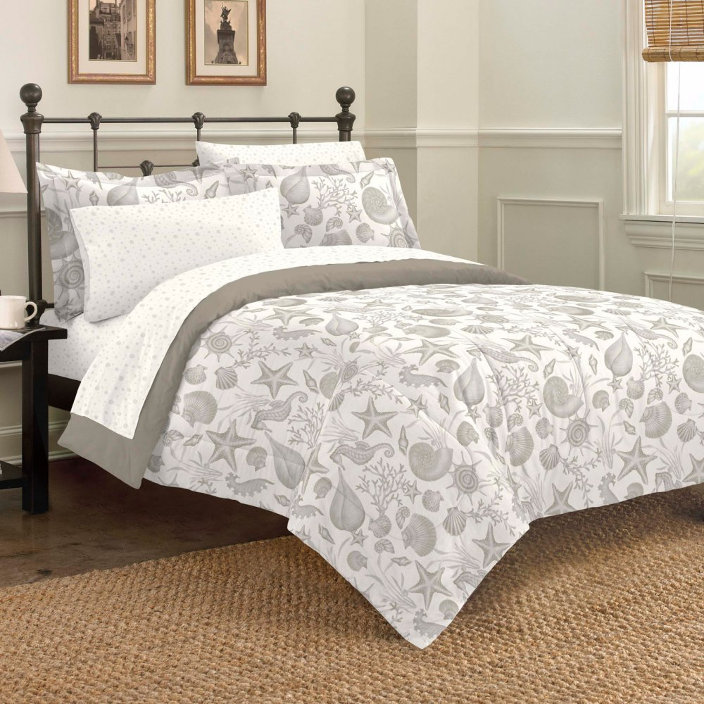 Discoveries Deep Sea Ocean Seashell Bedding Comforter Set, King, Taupe