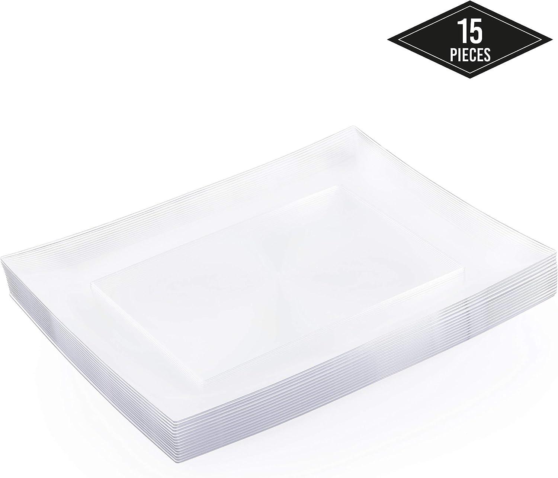 15 Piezas Bandejas Rectangulares de Plástico, Transparente 30x23cm - Plato de Servir - Resistente, Desechable y Reutilizable| Postres Aperitivos Fiestas Bodas Cumpleaños Catering.