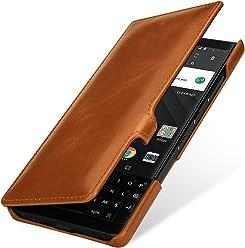 StilGut Book Type Case, custodia per BlackBerry Key2 a libro booklet in vera pelle con funzione on/off, Cognac con Clip