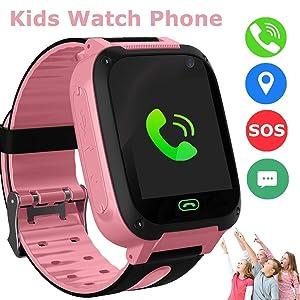 SZBXD Kids Smart Watches Phone, GPS Tracker Touch Screen Flashlight SOS Camera Clock Voice Chat Smartwatch - Boys Girls Christmas Birthday Gift (Pink)