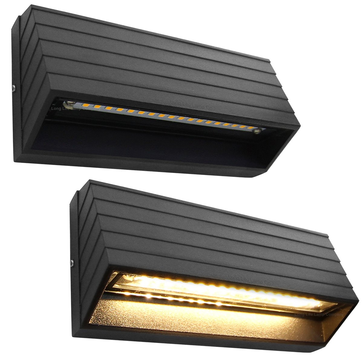 2 x LED Outdoor Surface Mount Wall or Pathway Brick Light Black Finish Warm White ZLC039WW Long Life Lamp Company ZLC039WW2P