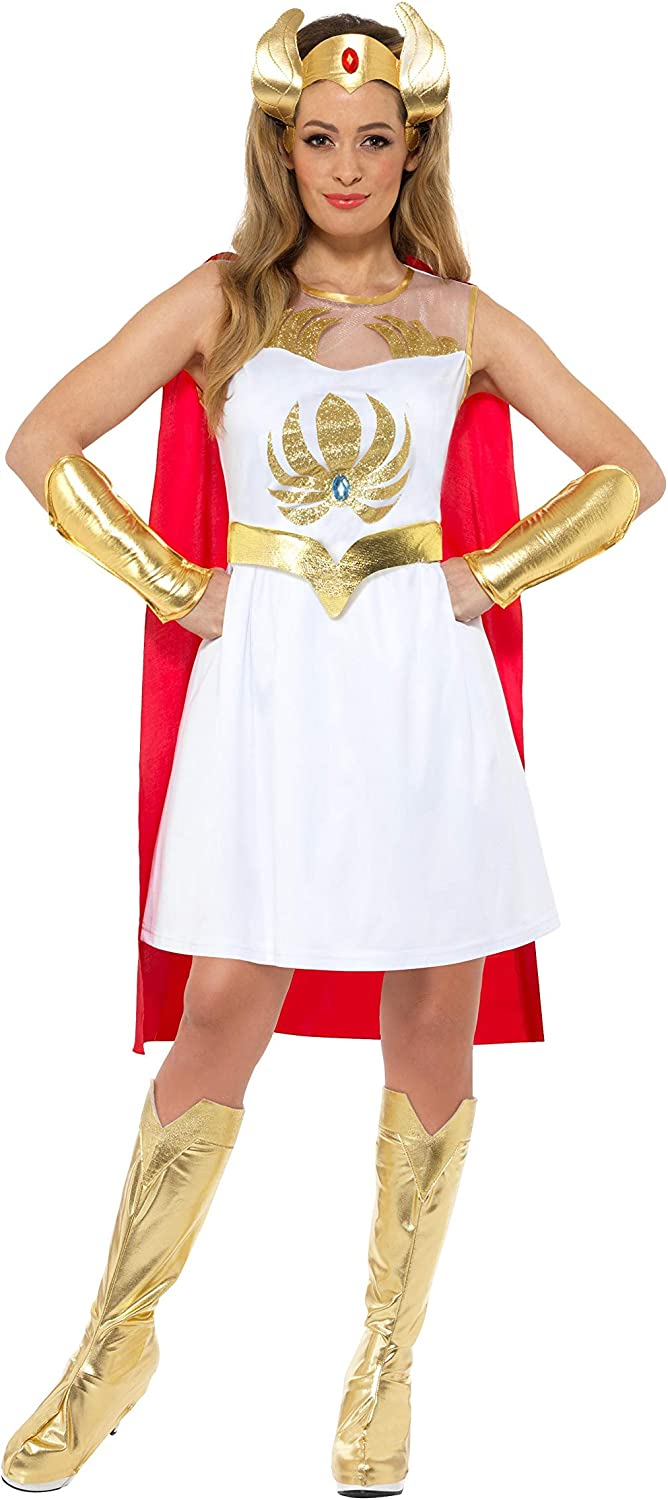 Officially Licensed Budget She-Ra Costume for Women with glitter print. Sizes 8 to 18