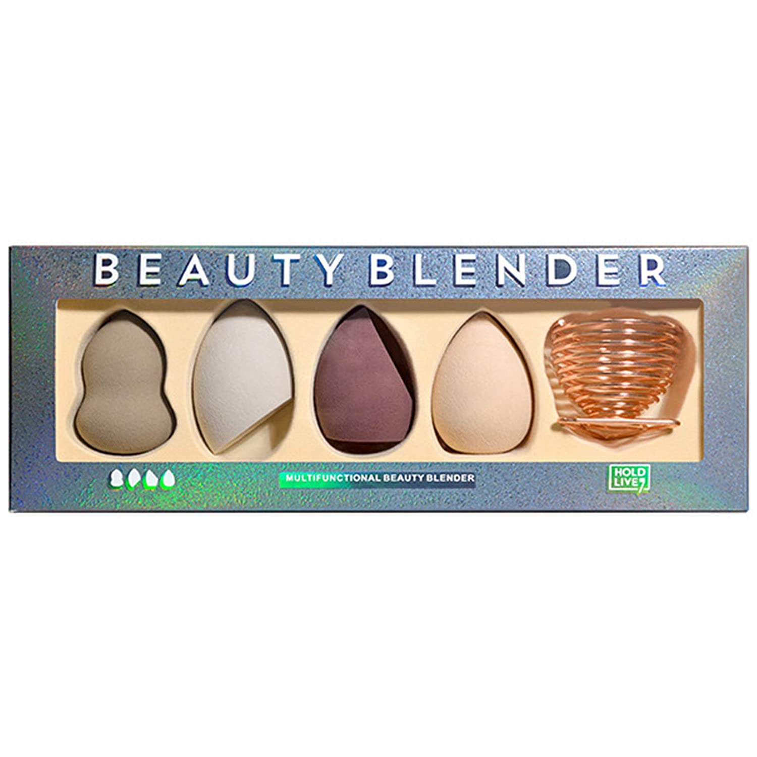Makeup Sponge Set of 4 Pcs with Storage, Professional Soft Makeup Blender Latex Free Dry & Wet Use For Liquid Cream and Powder Multi-colored Makeup Sponges