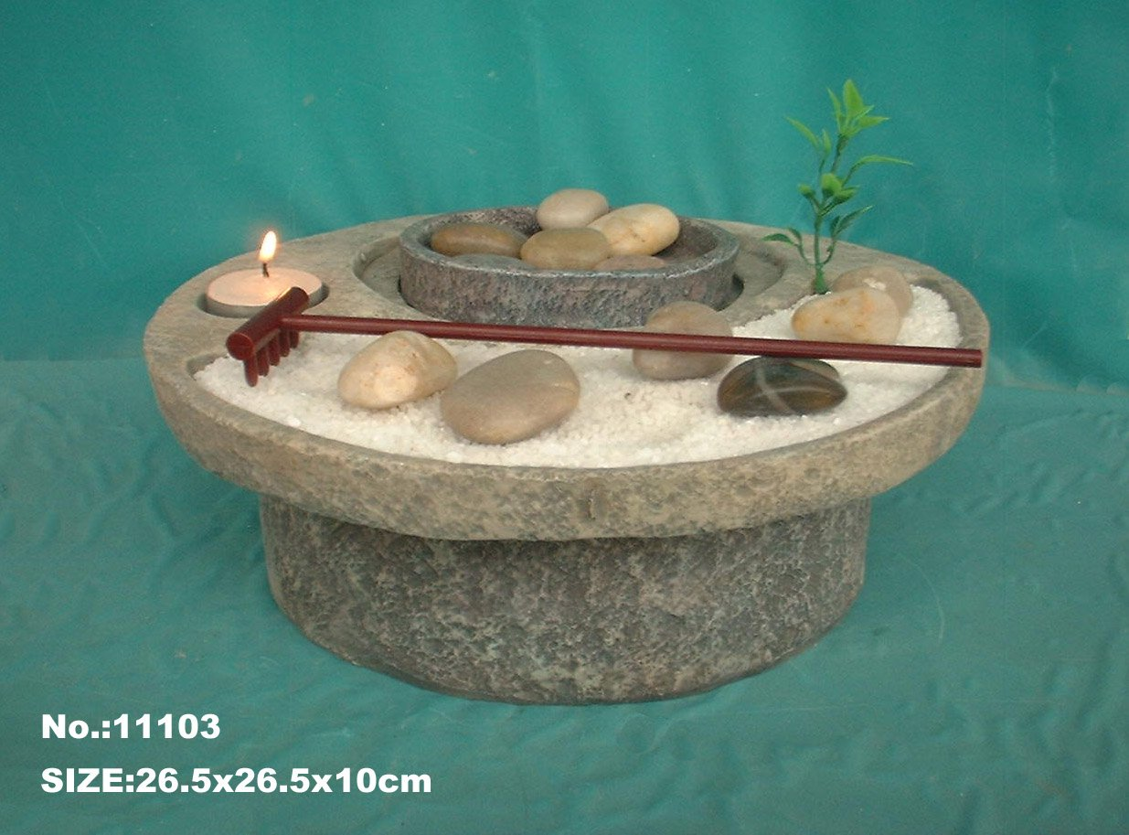 Zen Garden Water Fountain with Sand and Rocks