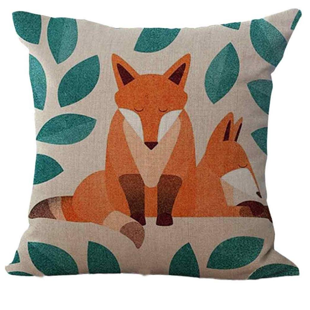 Hot Selling! Wearefin Fox Print Pillowcase Sofa Bed Home Decoration Cushion Cover Pillow Case TLSW