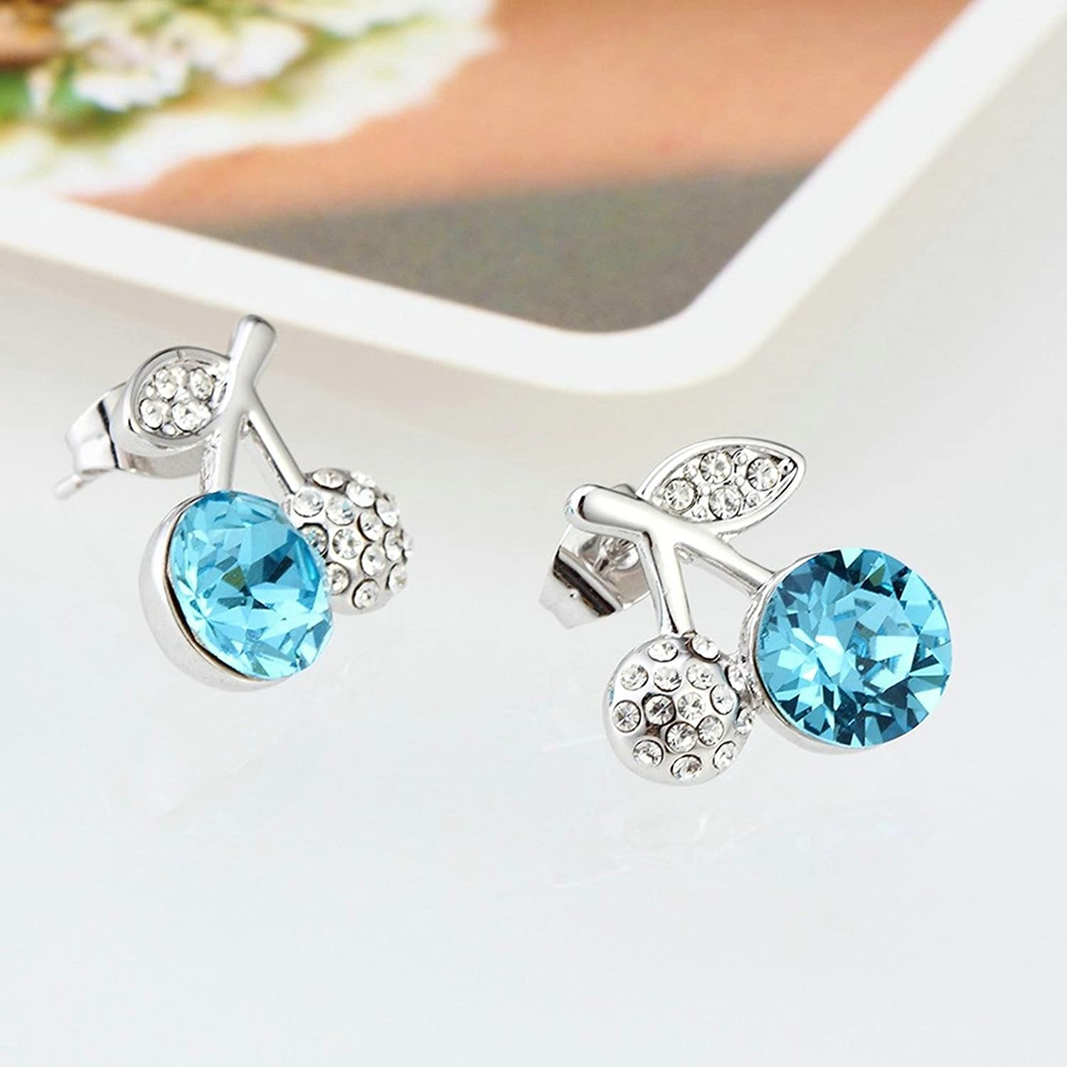 Adisaer Gold Plated Stud Earrings for Womens White /& Blue Fruit Cubic Ziconia Wedding Earrings for Brides