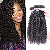 BLY Hair 3 Bundles 100% Unprocessed 7A Malaysian Virgin Kinky Curly Human Hair Weaves Deep Curly Hair Bundles Natural Black