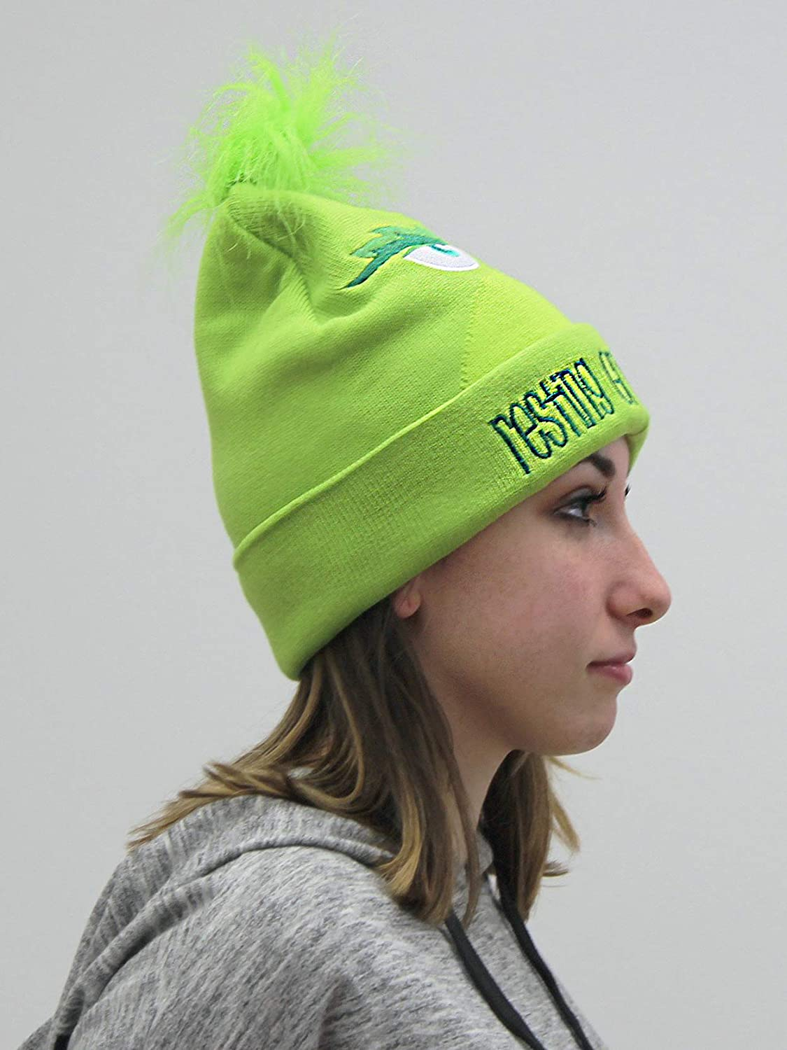 7a95ab282656b The Grinch Dr. Seuss Movie Resting Grinch Face Adult Cuffed Knit Beanie Hat  (One Size