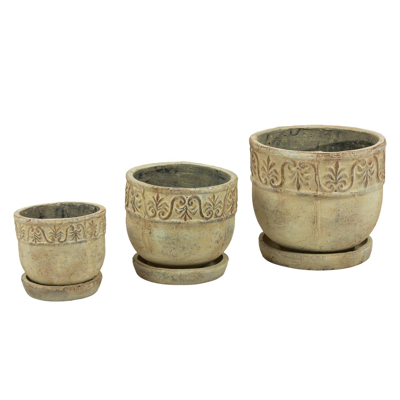 Pot De Fleur Avec Soucoupe En Ceramique Rustic Diametre 25 Cm Polnix
