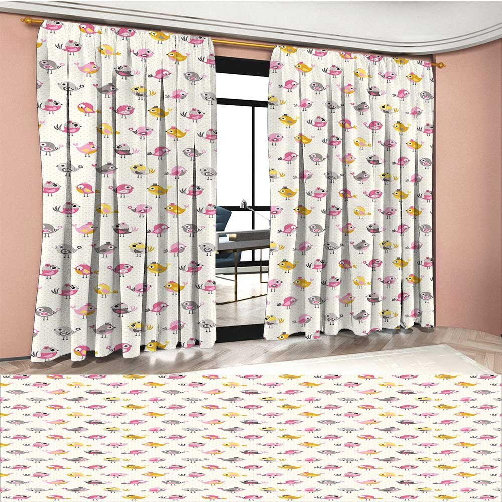 Baby Window Curtain Drape Cartoon Style Birds with Fancy Funny Animals with Accessories Top Hat Flowers Decorative Curtains For Living Room Pink Grey Marigold by RuppertTextile