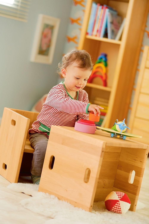 BioKinder 22818 Elena Spar-Set Kinderstuhl W/ürfelhocker aus Massivholz Erle 35 x 35 cm 2 St/ück