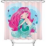 Crystal Emotion Cute Mermaid Fabric Shower Curtain Set Cartoon Girls Kids Bathroom Curtains with 12 Hooks Decorations 72x84inch Waterproof Polyester