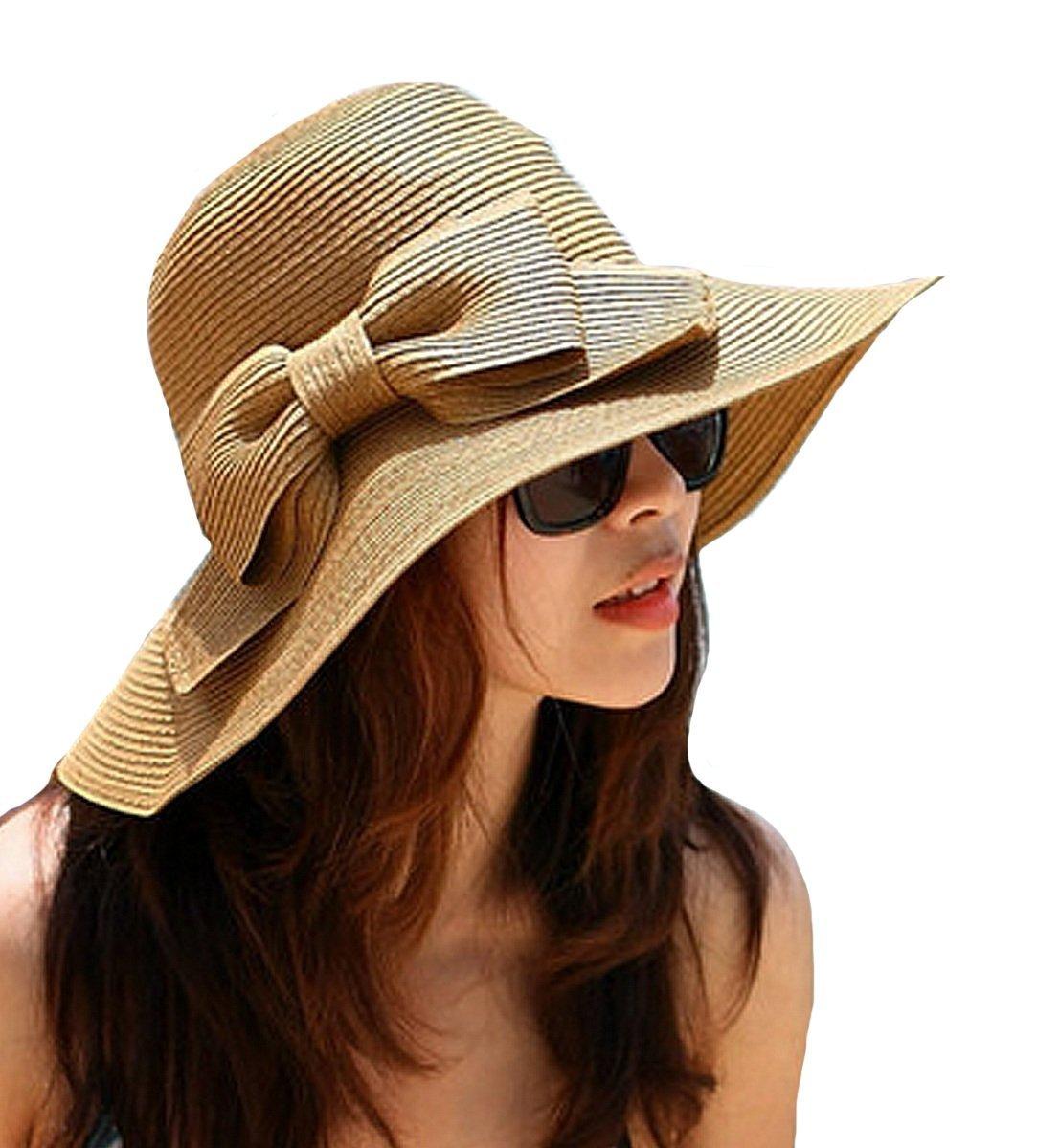 LA HAUTE pieghevole con fiocco, da donna, paglia Cappello a tesa larga Beach-Cappello con visiera, r...