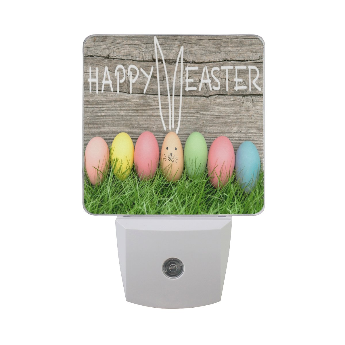 Naanle Set Of 2 Colorful Easter Egg Cute Bunny Rabbit Wood Auto Circuit Will Makes Things Sensor Led Dusk To Dawn Night Light Plug In Indoor For Adults
