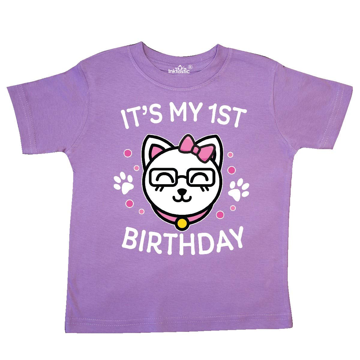 inktastic Its My 1st Birthday with Cat in Glasses Toddler T-Shirt
