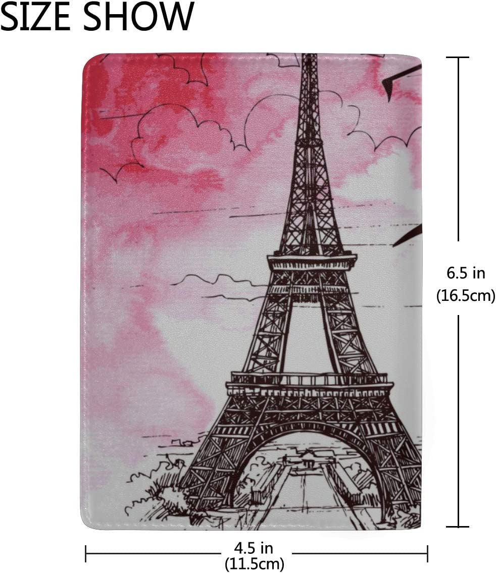 One Of The Most Famous Monuments In Paris Blocking Print Passport Holder Cover Case Travel Luggage Passport Wallet Card Holder Made With Leather For Men Women Kids Family