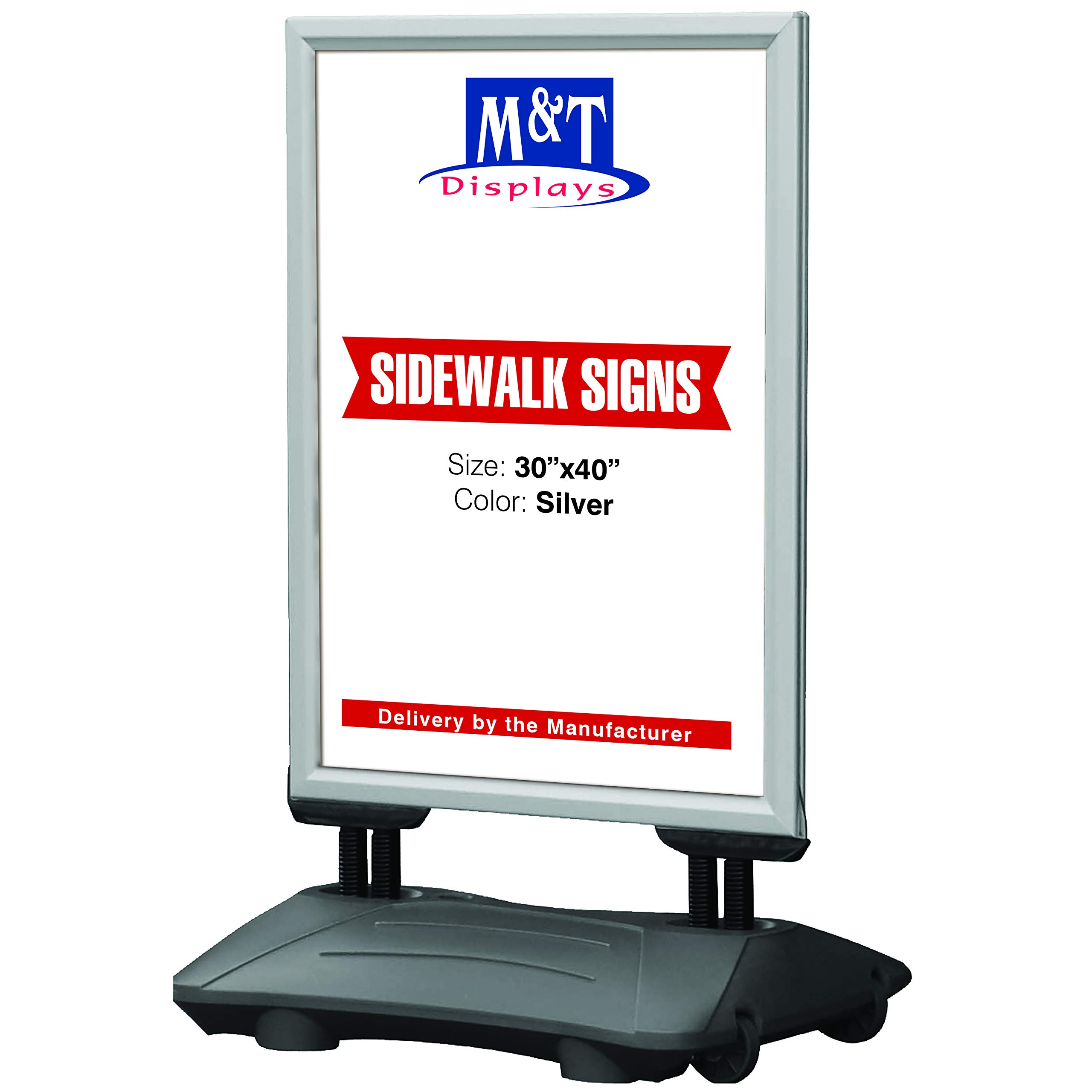 Outdoor Display Advertising Sidewalk Sign for 30x40 Inch Posters, Snap Open Frame, Double Sided, Water Base, High Wind Resistant with Spring Base by M&T Displays (Image #1)