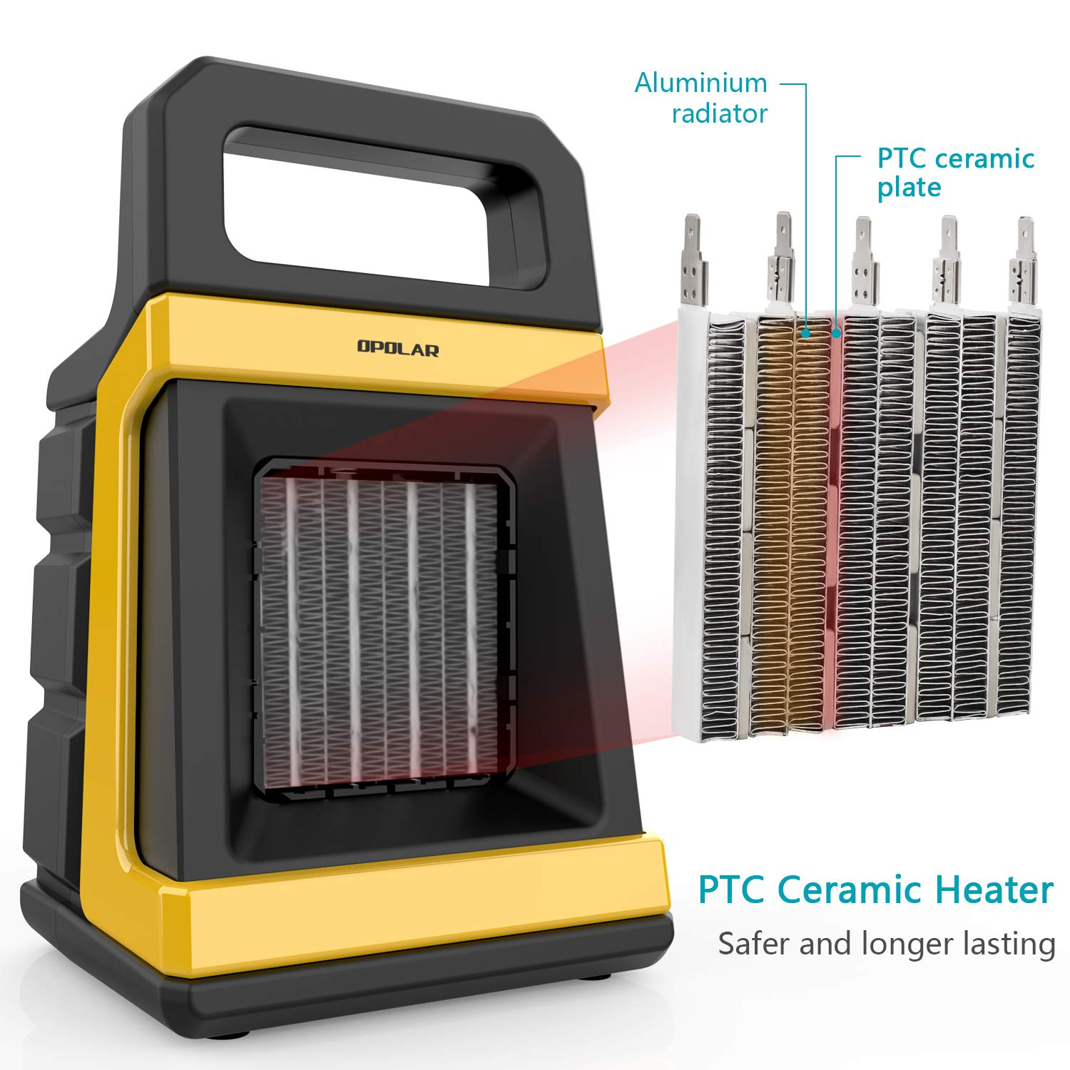 1500 1000w Ceramic Space Heater Ptc Portable Heaters With Adjustable Thermostat Electric