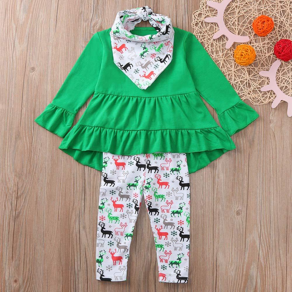 FeiliandaJJ Baby Clothing Set 2pcs Infant Toddler Baby Girl Christmas Xmas Deers Print Long Sleeves Dresses+Pants Outfits Clothes