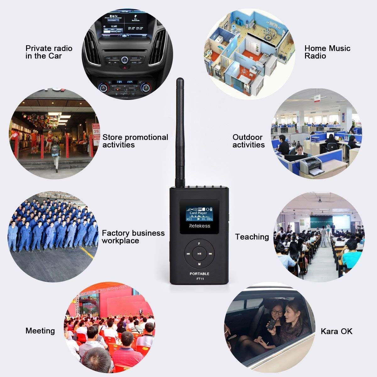 Retekess FT11 0.3W Portable FM Transmitter,Mini Radio Stereo Station,Support TF Card and AUX Input,2000mAh Rechargeable FM Broadcast Transmitter for Drive-in Church School Tour Guide Home Outdoor: Musical Instruments