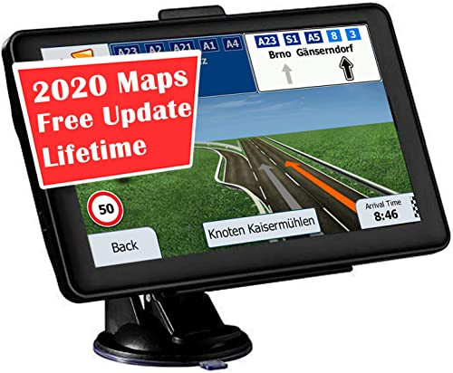 GPS Navigation for car, 7-inch Display 256MB-8GB Real Voice Droadcast Route United States 2020 map Free Lifetime Map Update