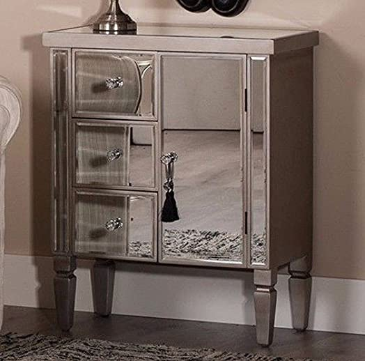 Venetian Mirrored Cabinet Silver Antique Style Sideboard Shabby Chic Glass  Chest of 3 Drawer 1 Small - Venetian Mirrored Cabinet Silver Antique Style Sideboard Shabby