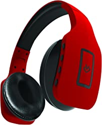 Jade Foldable Bluetooth Headphones with Built in Mic & Hands Free Remote - Red