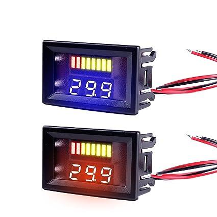 amazon com makerfocus 2pcs mini digital dc voltmeter two wires 5 rh amazon com Volt Gauge Wiring Diagram Hot Rod Wiring For Dummies