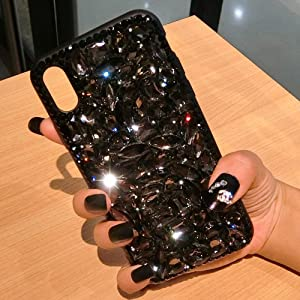 Case for iPhone Xs Max,iPhone Xs Max Diamond Case,3D Handmade Bling Rhinestone Diamonds Luxury Sparkle Rhinestones Case Girls Women Full Crystal Bling Diamond Case Cover for iPhone Xs Max,Black
